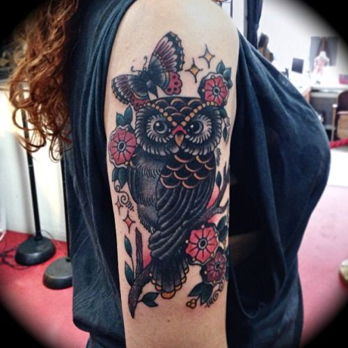 gorgeous owl tattoo for woman