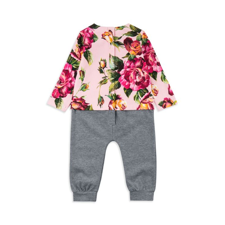 DOLCE & GABBANA Baby Girls Floral Onesie - Pink/Grey Baby girls onesie • Soft cotton jersey • Popper fastenings • Round neckline • Colourful floral print • Made in Italy • Material: 92% Cotton, 8% Elastane