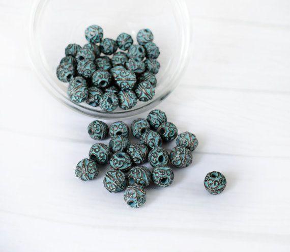 6 pcs Green Patina Heart Beads 9 mm Verdigris Green Patina