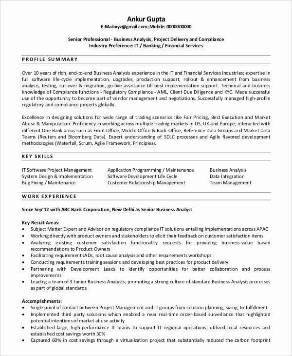 Junior Business Analyst Resume Fresh Sample Resume Business Analyst Banking Domain Junior It In