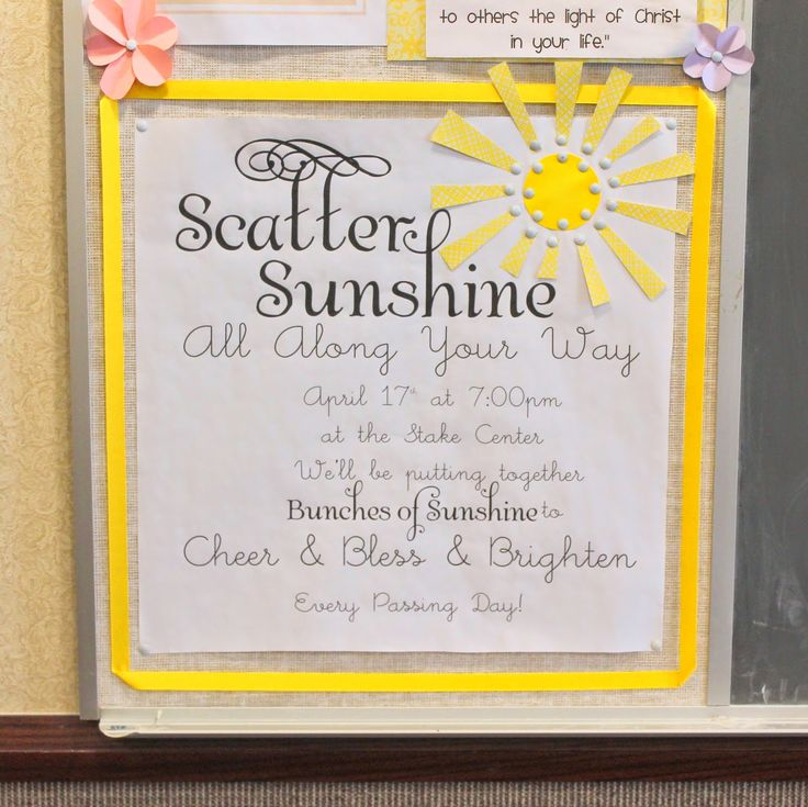 Little Inspirations: Scatter Sunshine Relief Society Activity