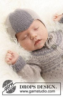 """Knitted DROPS baby hat and one piece jumpsuit in """"BabyAlpaca Silk"""". ~ DROPS Design"""