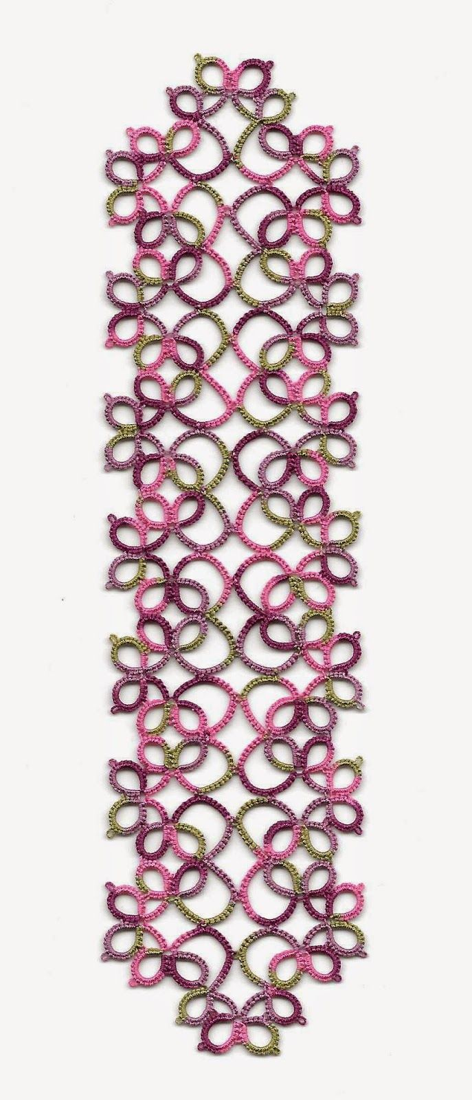 Tatting: Priscilla bookmark (free pattern - diagram)