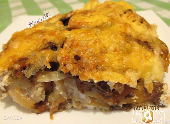 Картофельная запеканка с сосисками и грибами - Рецепт с пошаговыми фотографиями - Ням.ру