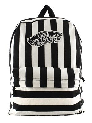 Vans Black and White Striped Realm Backpack #vans #backpack