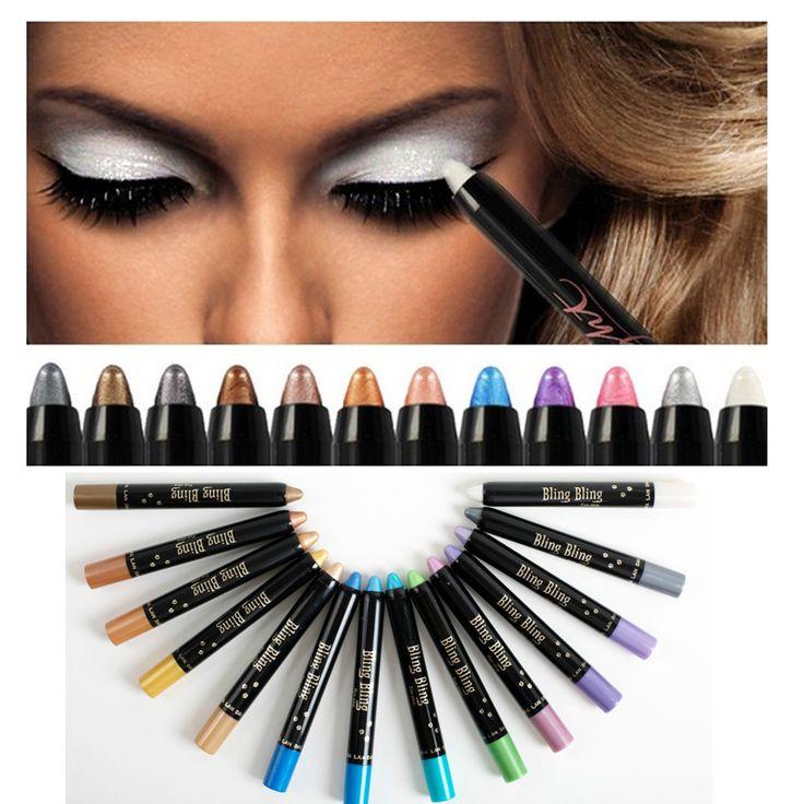 Professional kosmetika eye Makeup Lot Cosmetics Long Lasting White Gold Metallic Shimmer Glitter Eyeshadow Color Pencil