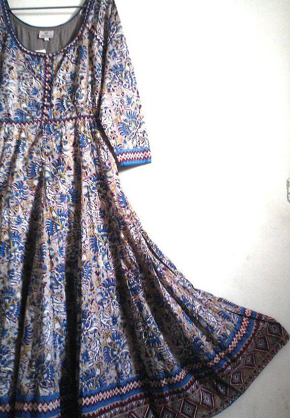 Rare Gypsy style Boho Chic Anokhi Quetzal Paisley Floral Hand block Print Cotton Maxi Dress Size XL