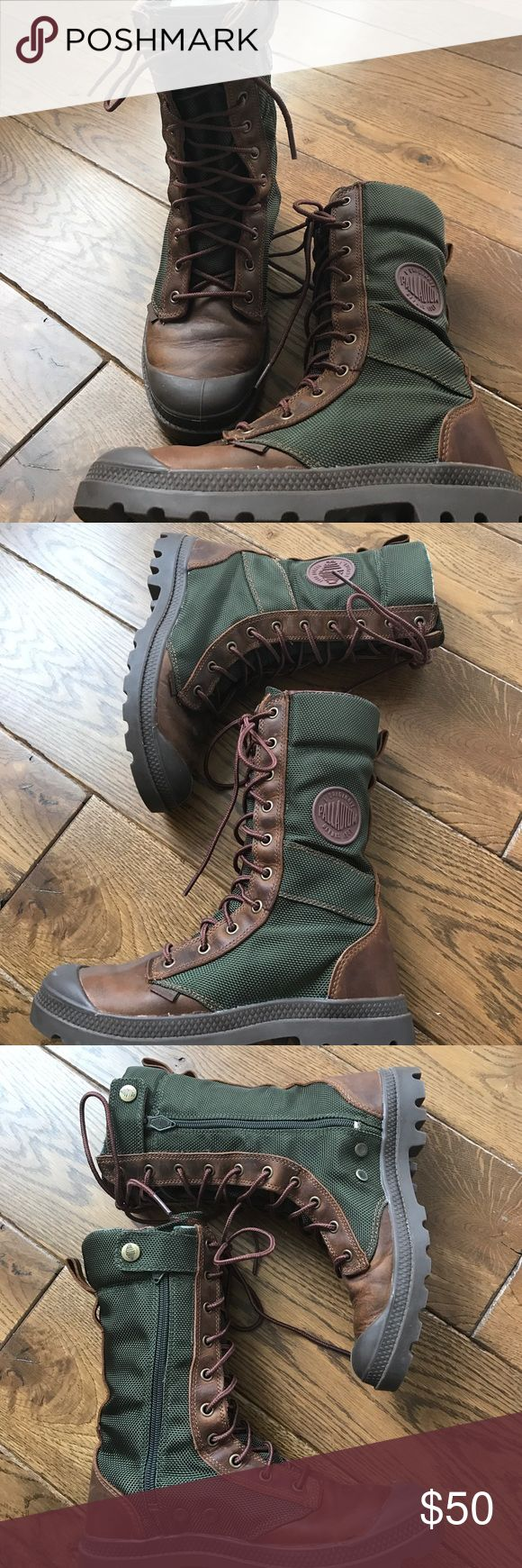 Palladium Boots 1947 Combat Boots Palladium Pampa Tactical Combat Boots Women's 8 but Runs Small I Wear 7 1/2 normally Plaid flannel inside Snap / Zipper on Sides Lace Fronts Rubber Toe/ Leather and Bottoms Green Fabric Side Palladium Shoes Combat & Moto Boots