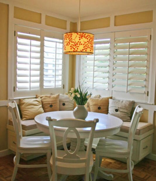 Breakfast nook. Dining area in our kitchen. Love the bench idea, eating together, over looking our lake.