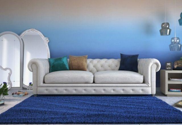 wohnzimmer wandgestaltung mit farbe-ombre wand streichen, Wohnzimmer dekoo