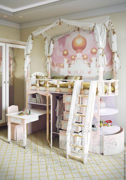 """Детская ручной работы. Детская кровать """"Восточная принцесса"""". Дмитрий. Ярмарка Мастеров. Кровать-чердак, золотая патина"""