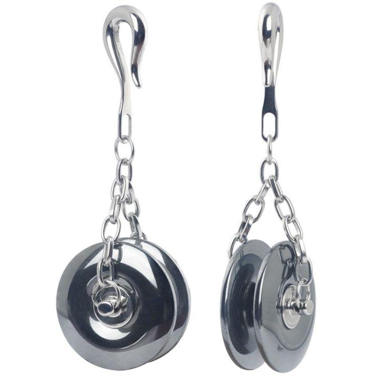 Coppia pndenti lobi orecchio, Pesi con gancio da 4.0mm in pietra naturale di Ematite con struttura in acciaio chirurgico 316L. Artigianali di Micromutazioni su Etsy
