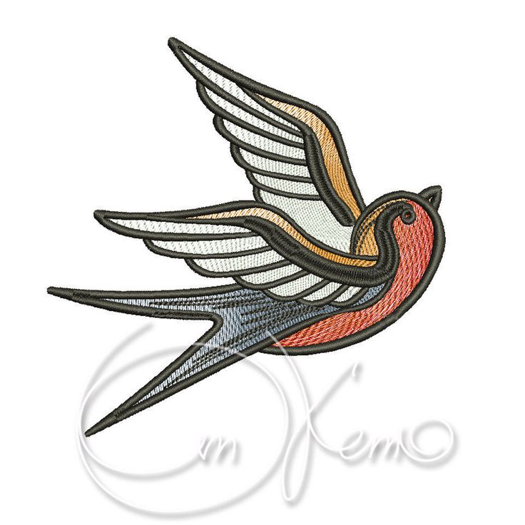 MACHINE EMBROIDERY DESIGN - Old school tattoo embroidery, swallow embroidery, old school swallow by OTKETO on Etsy