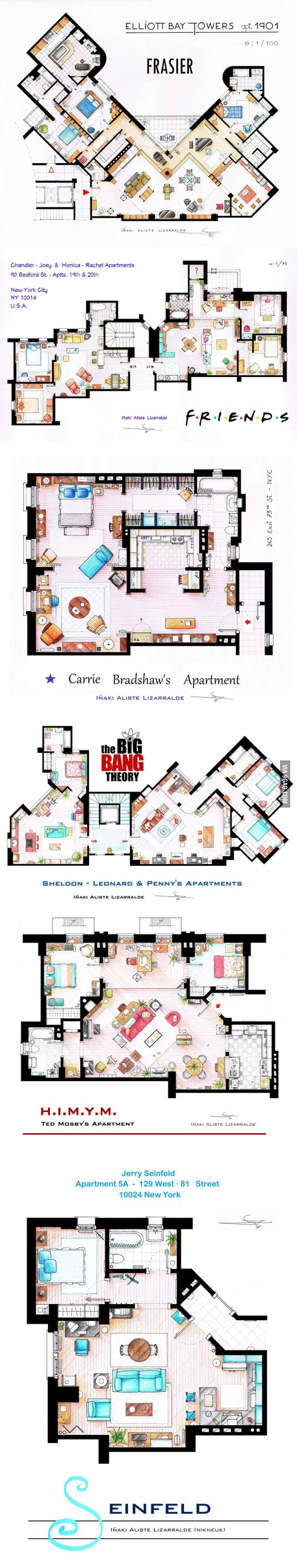 Floor plans from some TV series...Friends, How I Met Your Mother, Seinfeld, Frasier, Sex and the City, The Big Bang Theory #TV #apartments