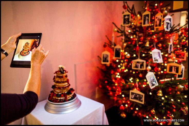 Wedding cake and Christmas Tree at Oxon Hoath wedding venue
