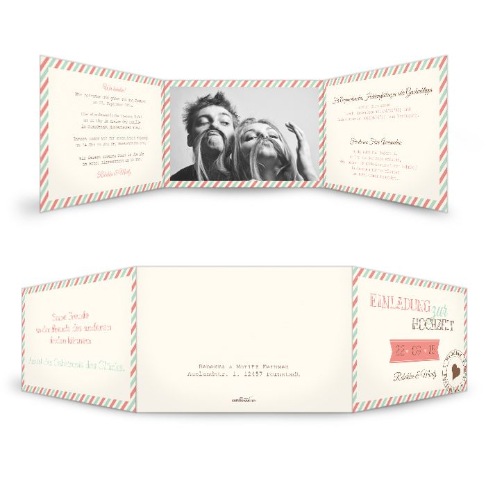 Hochzeitseinladungskarte nostalgisch Rebekka und Moritz creme - Carinokarten.de