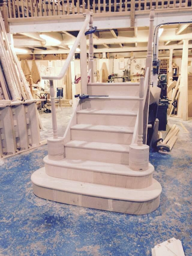 Hemlock Stairs With Iron Balustrade In Production