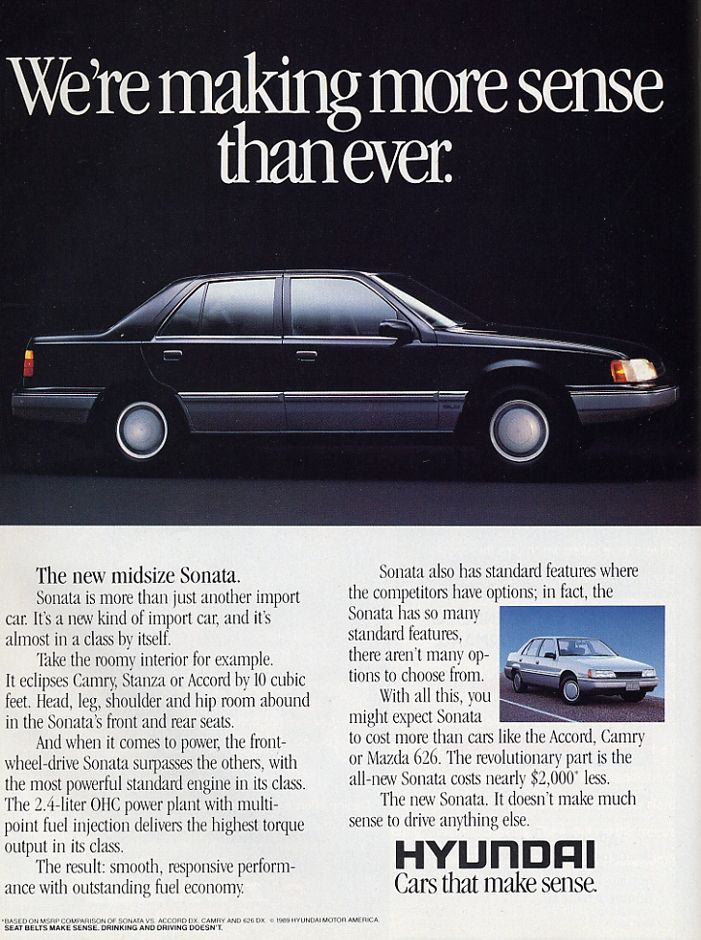 Vintage Hyundai ad of Hyundai Sonata from the 1980s.