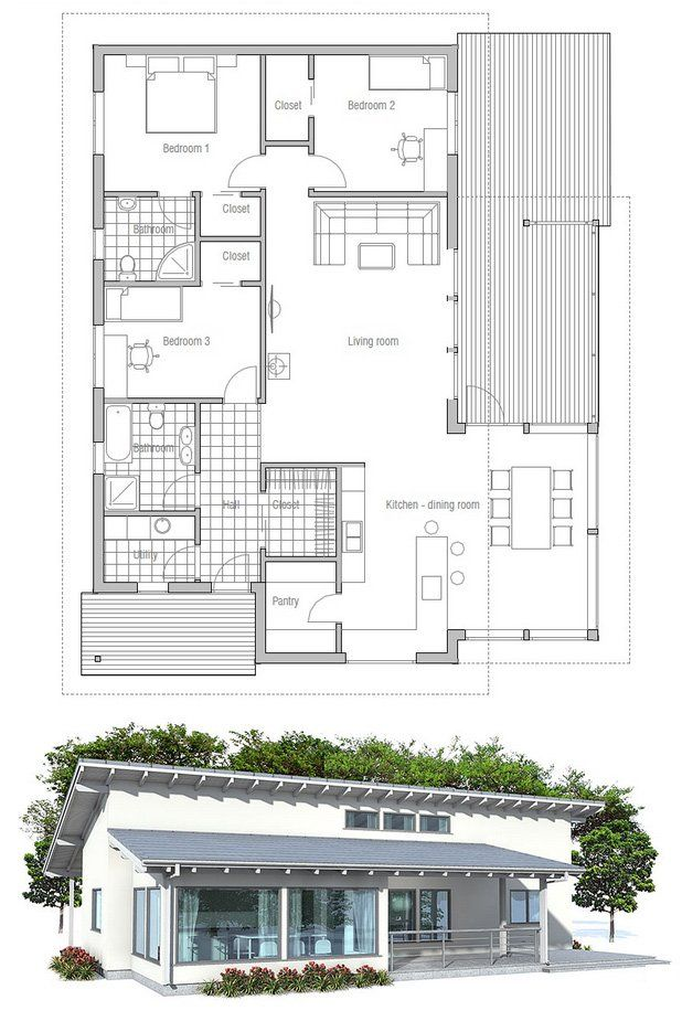 63 best images about modern house plans on pinterest for Small affordable house plans