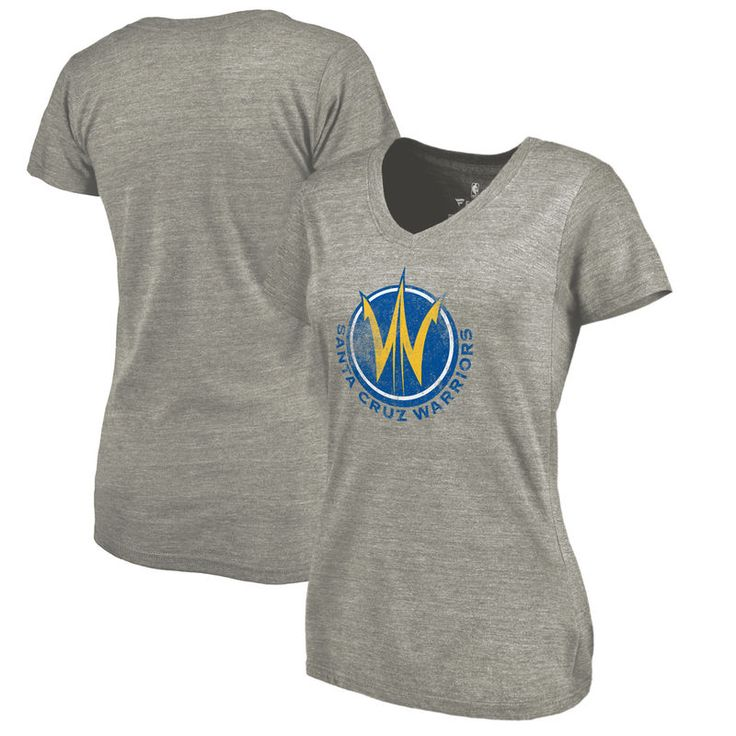 Santa Cruz Warriors Fanatics Branded Women's Distressed Primary Tri-Blend V-Neck T-Shirt - Heathered Gray
