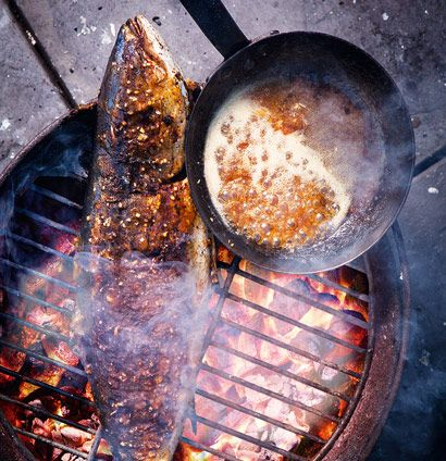yellowtail on the coals + sticky apricot vanilla ginger glaze