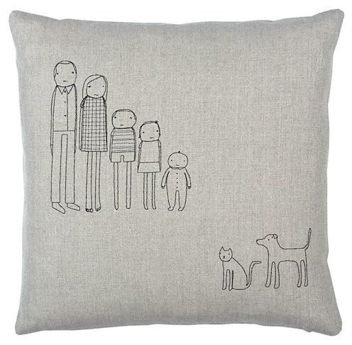 DIY Whimsical Family Portraits... on a pillow! How cute!!