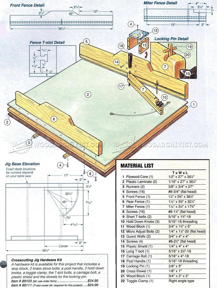 #2253 Table Saw Crosscut Jig - Table Saw