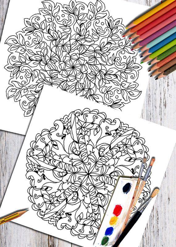 Mandala Coloring Book Art Therapy Printable Floral Clipart Digital Page Adult Colouring Pages Hand Drawn