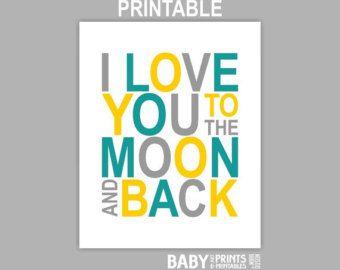 gray, yellow and teal rug | Printable baby Boy Teal Yellow Grey nursery art, I love you to the ...