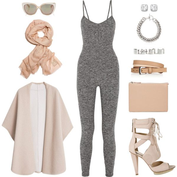 catsuit. by goldiloxx on Polyvore featuring polyvore fashion style MANGO Live The Process B Brian Atwood ASOS Yves Saint Laurent Maison Margiela Swarovski Missoni Jimmy Choo grey nude scarves catsuit