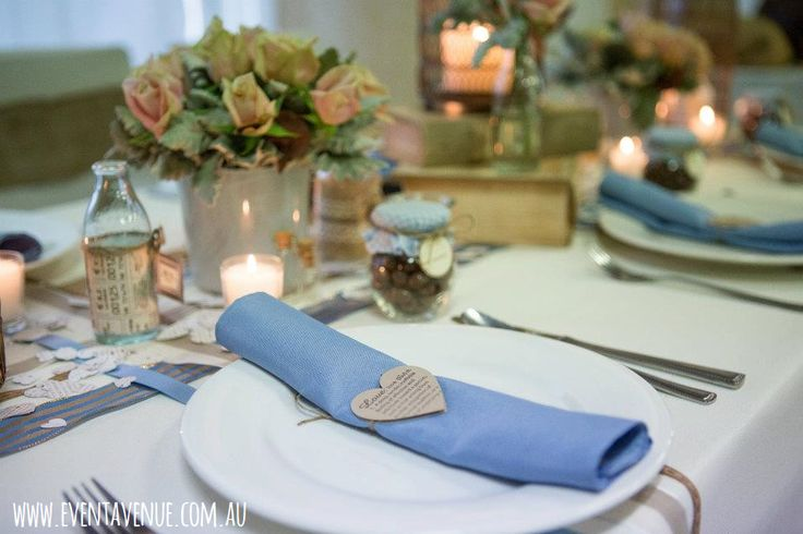 mixed vintage style garden flowers with candles, DIY table napkin ring - Event Avenue
