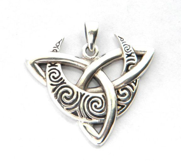 Sterling Silver Tribal Crescent Moon And Celtic Triquetra