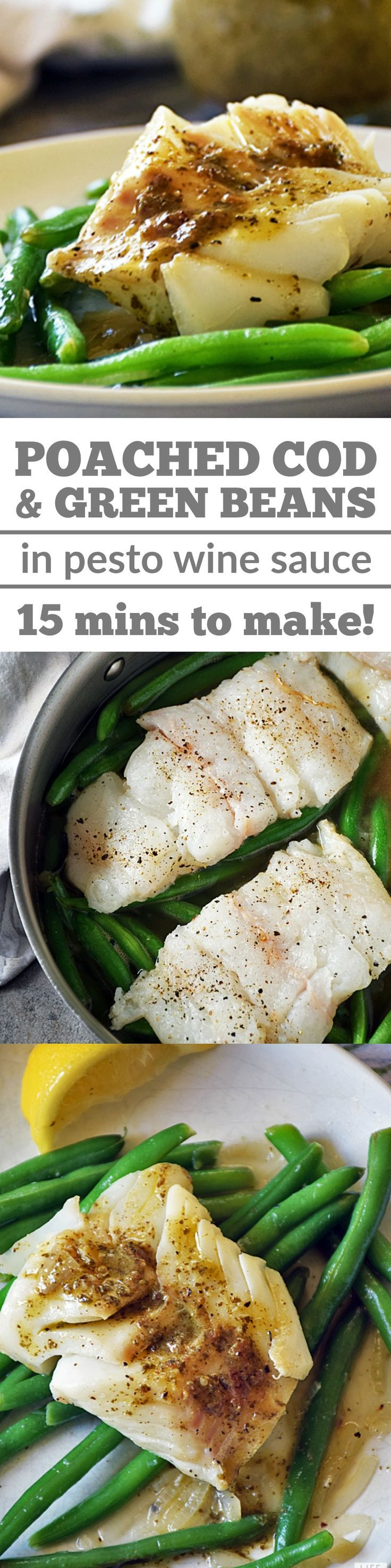 Poached Cod with Pesto Wine Sauce and green beans is the easiest recipe you're not making but definitely should be. In addition to cooking in one skillet and on the table in just 15 minutes from start to finish, this recipe is also good for you and packs a big flavor punch! Perfect fish meal to eat on Good Friday & fun healthy green recipe for St. Patrick's Day!