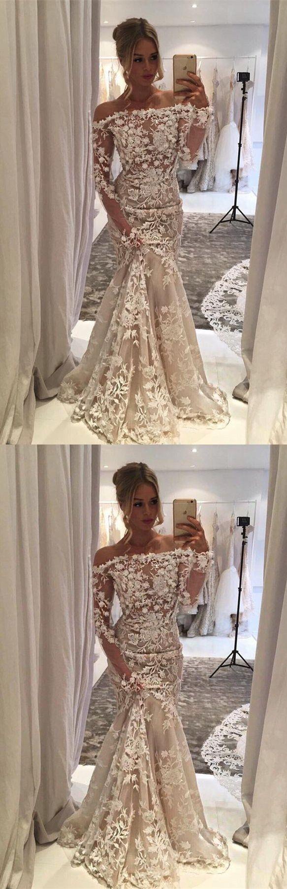 mermaid off shoulder wedding dresses with long sleeves appliques, #weddingdress