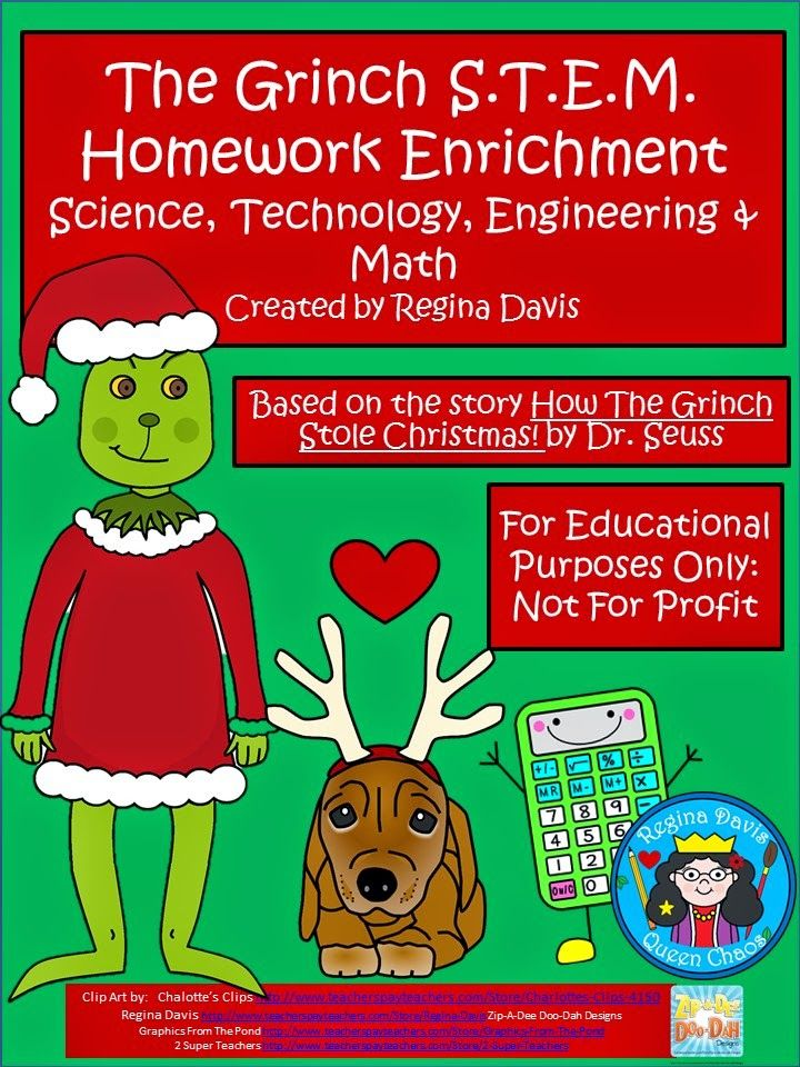 Free:  Grinch S.T.E.M. (science, technology, engineering, math) based on How The Grinch Stole Christmas by Dr. Seuss.  For Educational Purposes Only...Not For Profit.  Enjoy! Regina Davis at Fairy Tales And Fiction By 2.