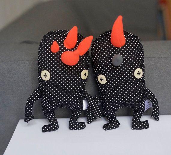 Orange Soft Teeth Brothers Stuffed Soft Toy by eyecandymade