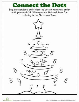 christmas dot to dot tree - Holiday Worksheets For Kindergarten