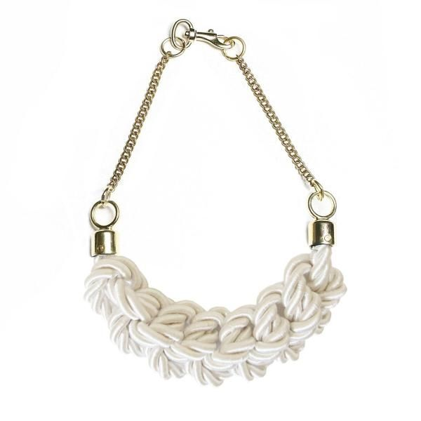 white knotted silk necklace by Balilla accessories
