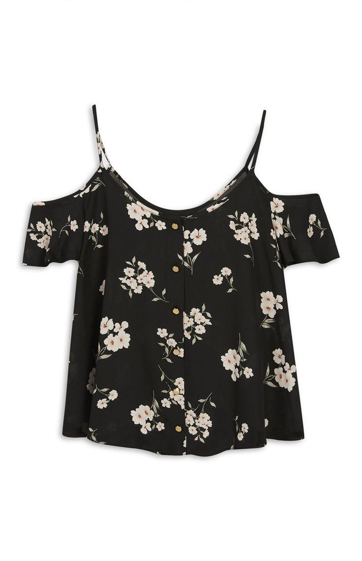 Schwarze, schulterfreie Bluse mit Blumen