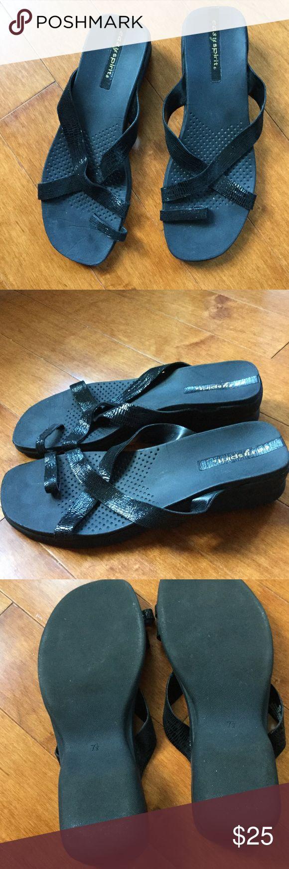 Easy Spirit Black Sandals. Size 7 1/2 Easy Spirit Black Sandals Size 7 1/2 worn twice. Easy Spirit Shoes Sandals