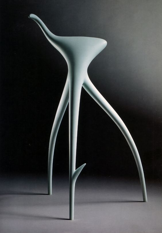 Iconic Chair Designs from the 1990s- 1- WW-stool-Starck Designed by Philippe Starck in 1990 for Vitra, is named after German filmmaker Wim Wenders. Entirely surrealist, this particular 'seat' is more the root of a tree or plant from which shoots sprout. The W.W. stool is an imaginative Starck creation, it is both beautiful and unsightly at the same time. -