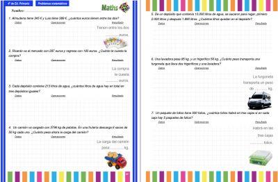 Colección de problemas para 4º de Primaria en PDF e Interactivos ideales para PDI - Orientacion Andujar