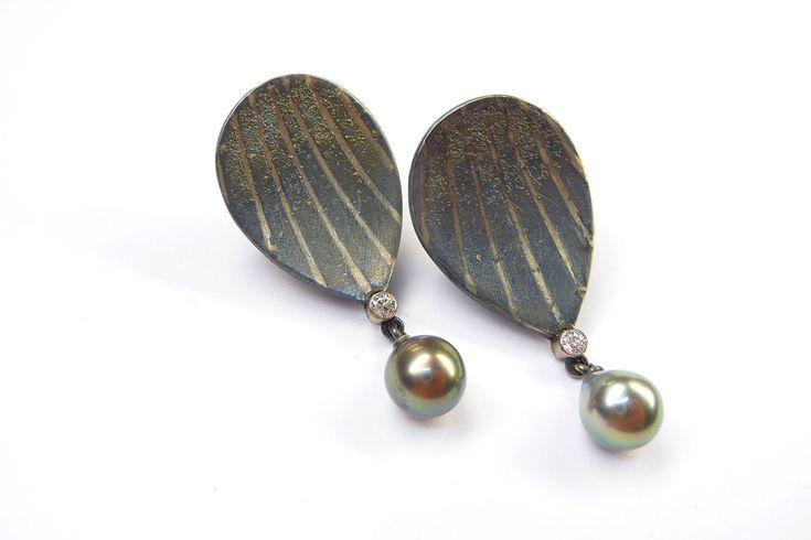 Ohrschmuck Silber / Platin, Perlen, Brillanten