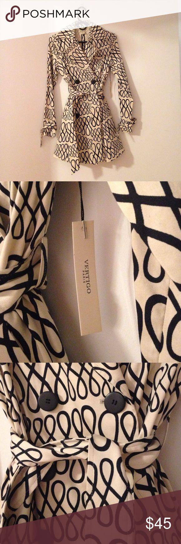 Never warn VERTIGO Paris trench coat Light tan and black designer trench coat Vertigo Paris Jackets & Coats Trench Coats