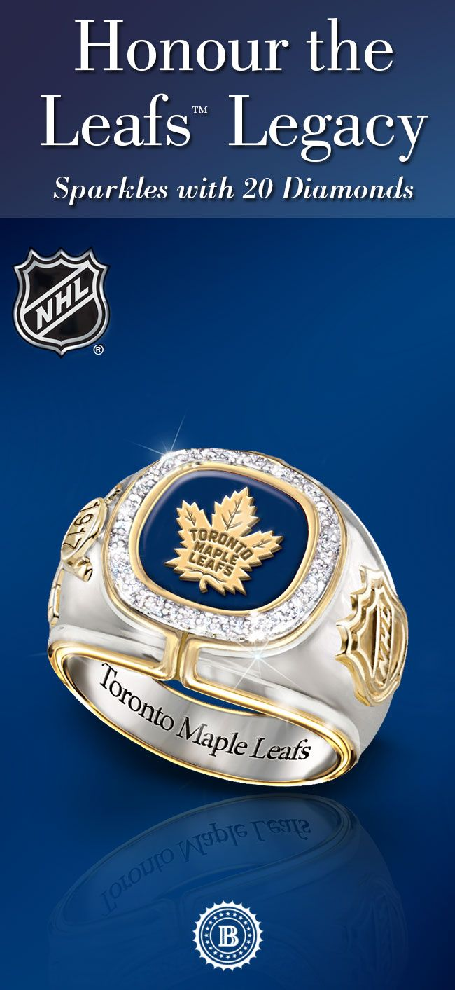 Commemorate 100 years of Leafs hockey with a bold tribute! Marking the Centennial Season, this Maple Leafs men's ring sparkles with 20 genuine diamonds in a setting of sterling silver plating, rare rhodium and 24K gold.