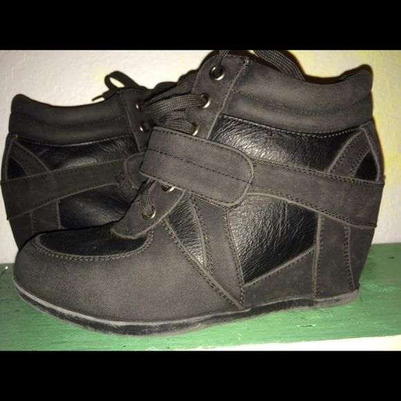Black wedges Sneaker style wedges Cathy by Cathy Jean Shoes Wedges