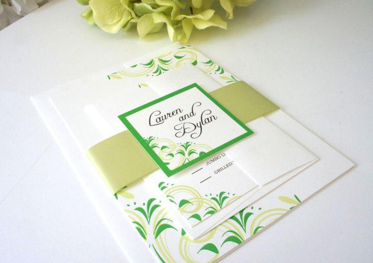 Green Wedding Invitation, Floral Wedding Invitation Set, Green Wedding Invites, Green Wedding Invitations, Flourish, Belly Band - DEPOSIT