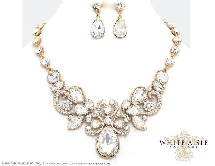 Gold Bridal Statement Necklace Set Wedding Jewelry Vintage Inspired Rhinestone