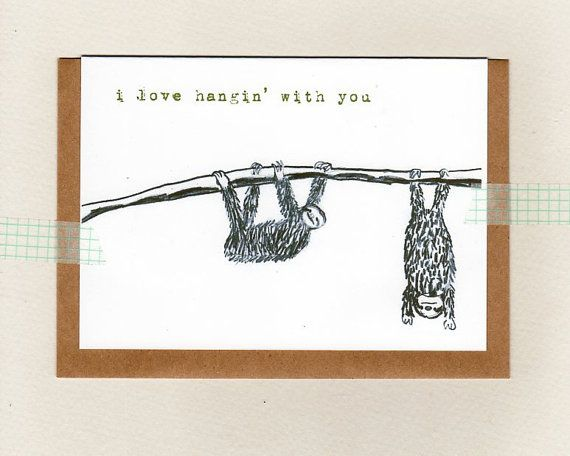 i love hangin' with you . card . sloth . mini by ThePaisleyFive