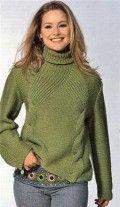 Оригинальный вязаный свитер спицами